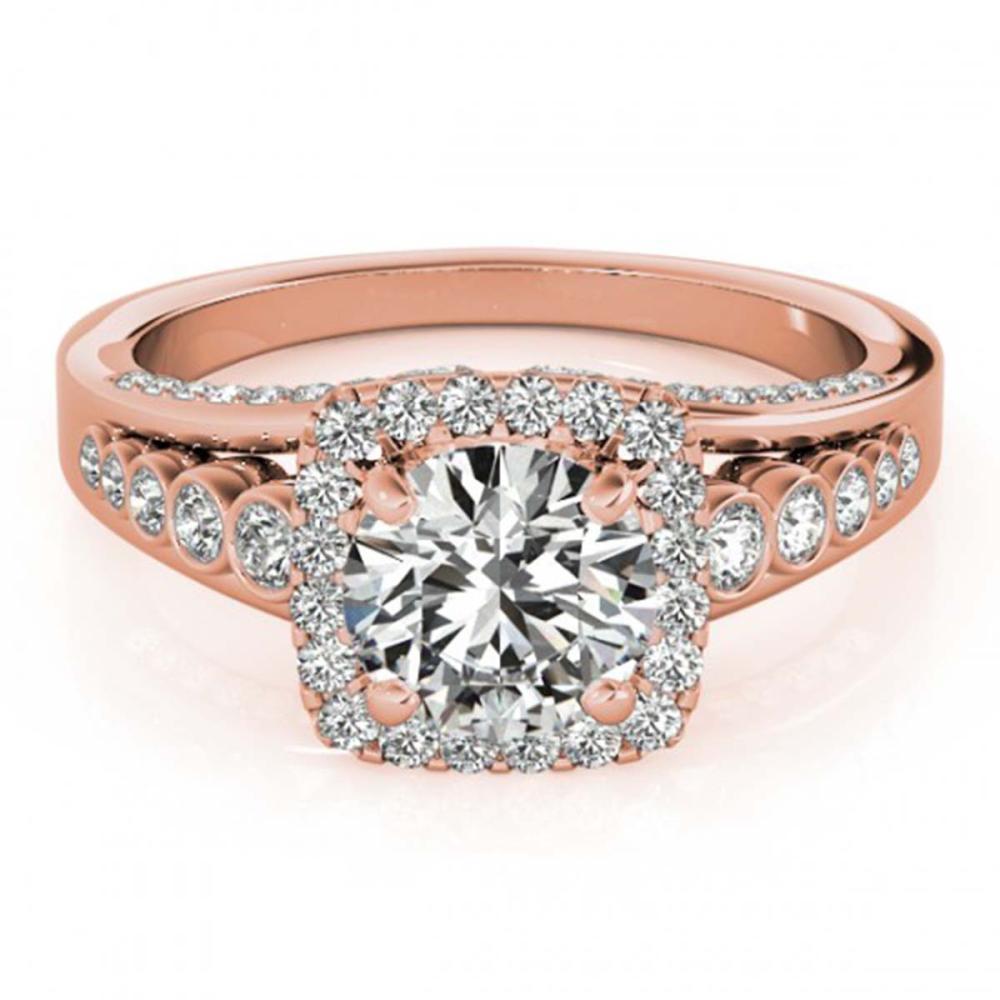 2 ctw VS/SI Diamond Halo Ring 18K Rose Gold - REF-410M2F - SKU:26947