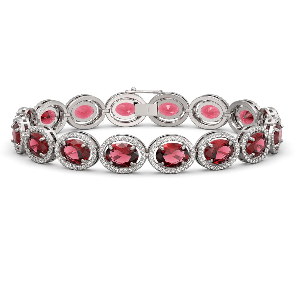 23.6 ctw Tourmaline & Diamond Halo Bracelet 10K White Gold - REF-393Y3X - SKU:40715