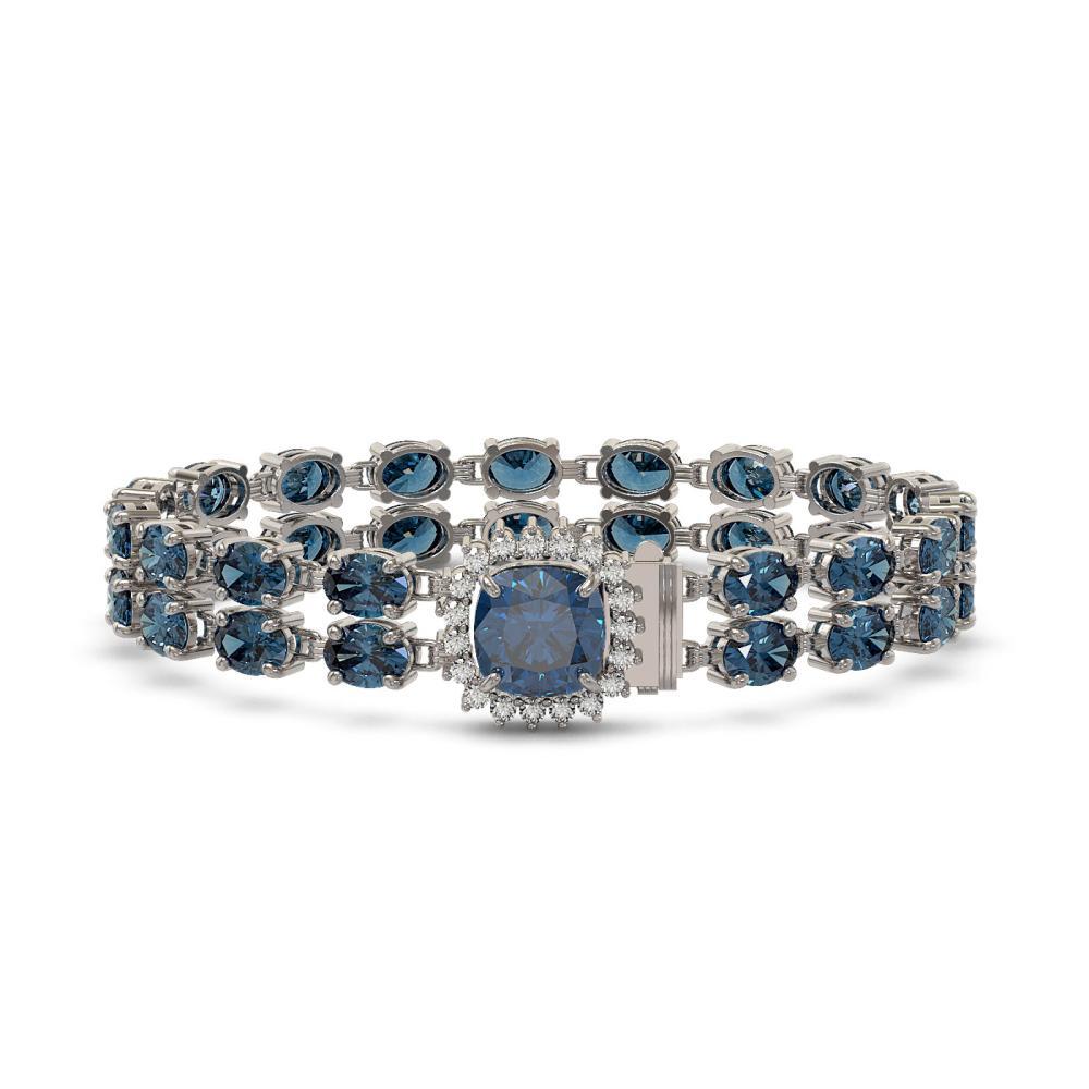 31.78 ctw London Topaz & Diamond Bracelet 14K White Gold - REF-212F2N - SKU:45686