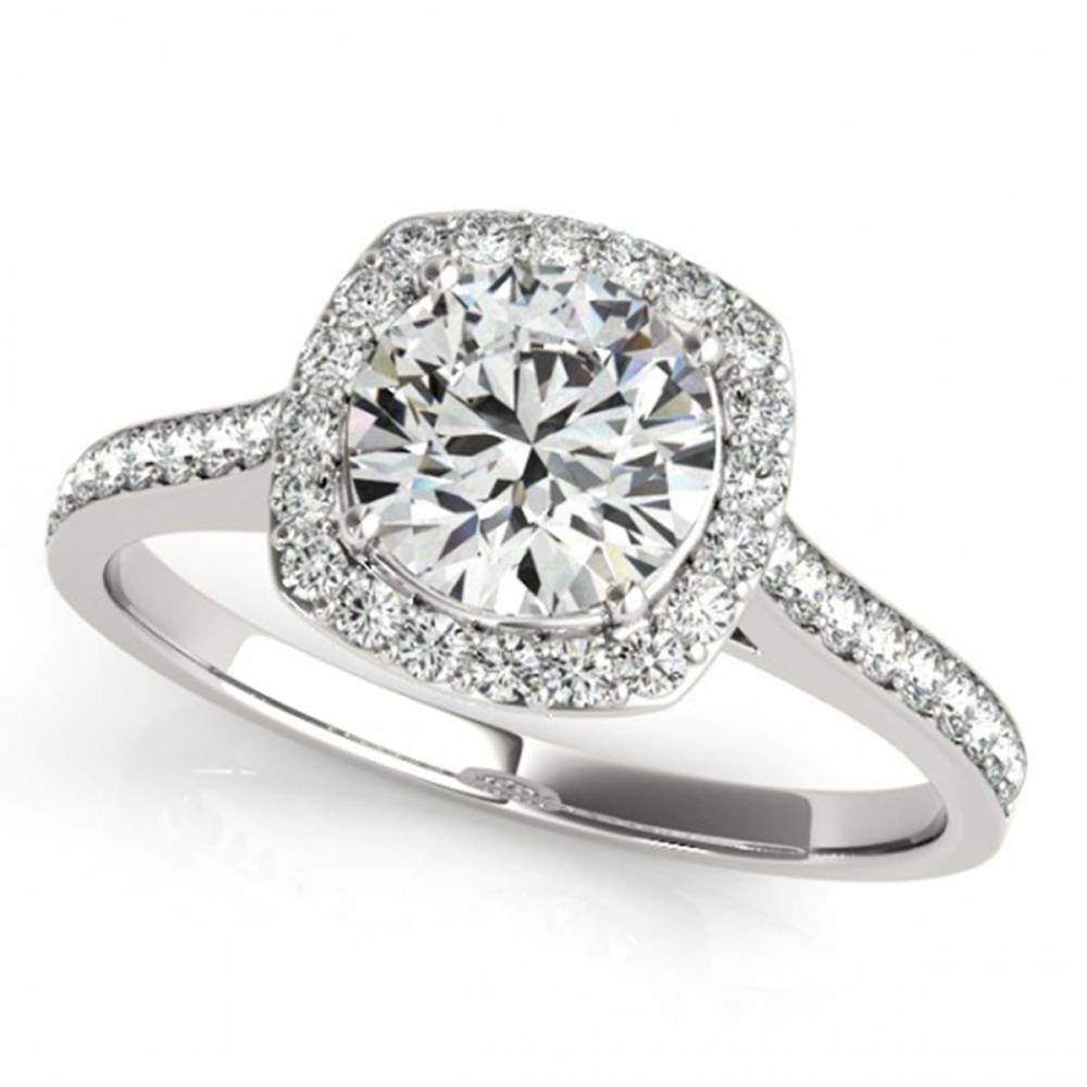 0.85 ctw VS/SI Diamond Halo Ring 18K White Gold - REF-94A3V - SKU:26871