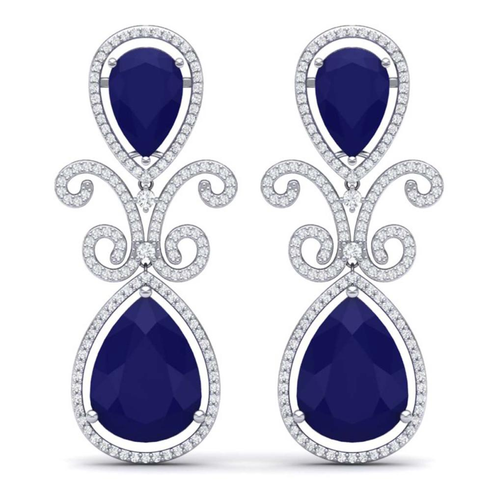 31.6 ctw Sapphire & VS Diamond Earrings 18K White Gold - REF-400V2Y - SKU:39546