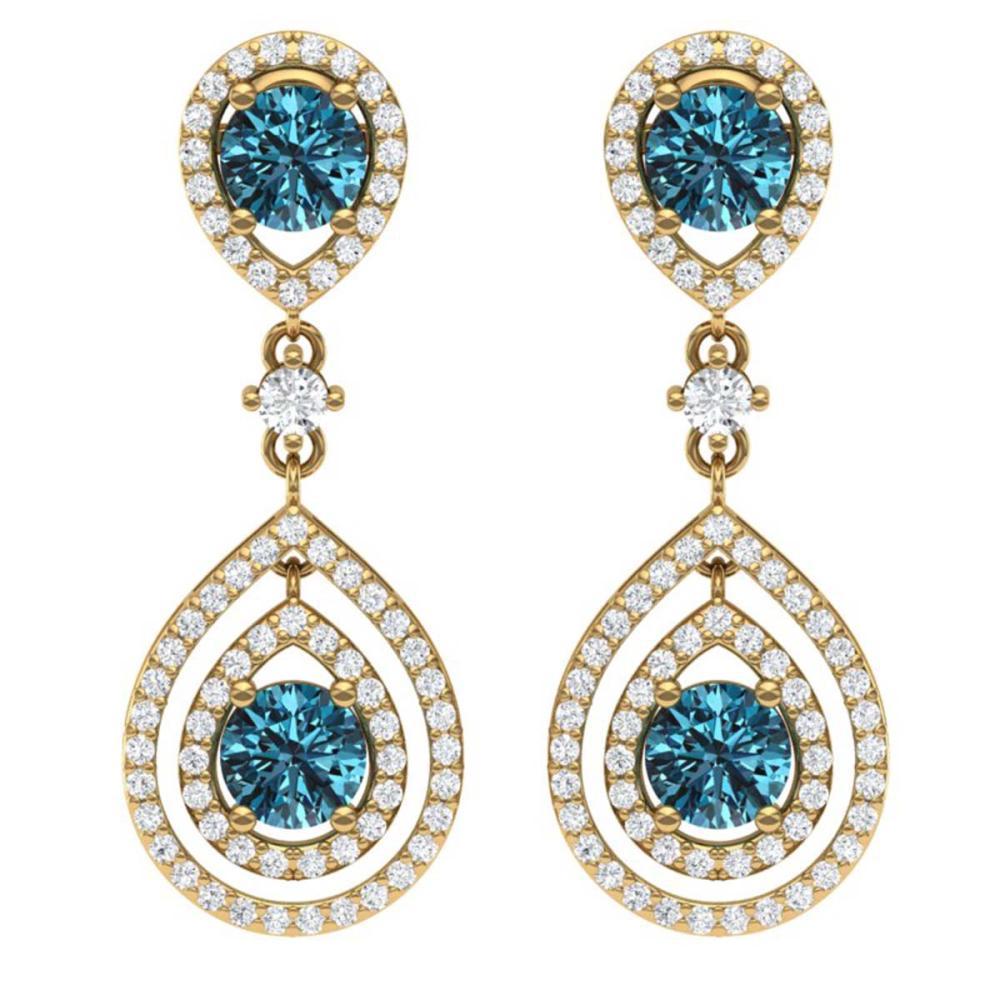 3.94 ctw Fancy Blue, SI Diamond Earrings 18K Yellow Gold - REF-354A5V - SKU:39116