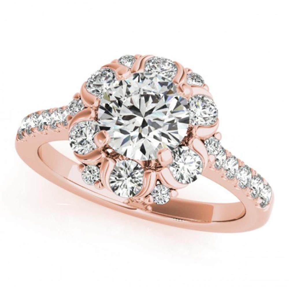 1.55 ctw VS/SI Diamond Halo Ring 18K Rose Gold - REF-131K9W - SKU:26668