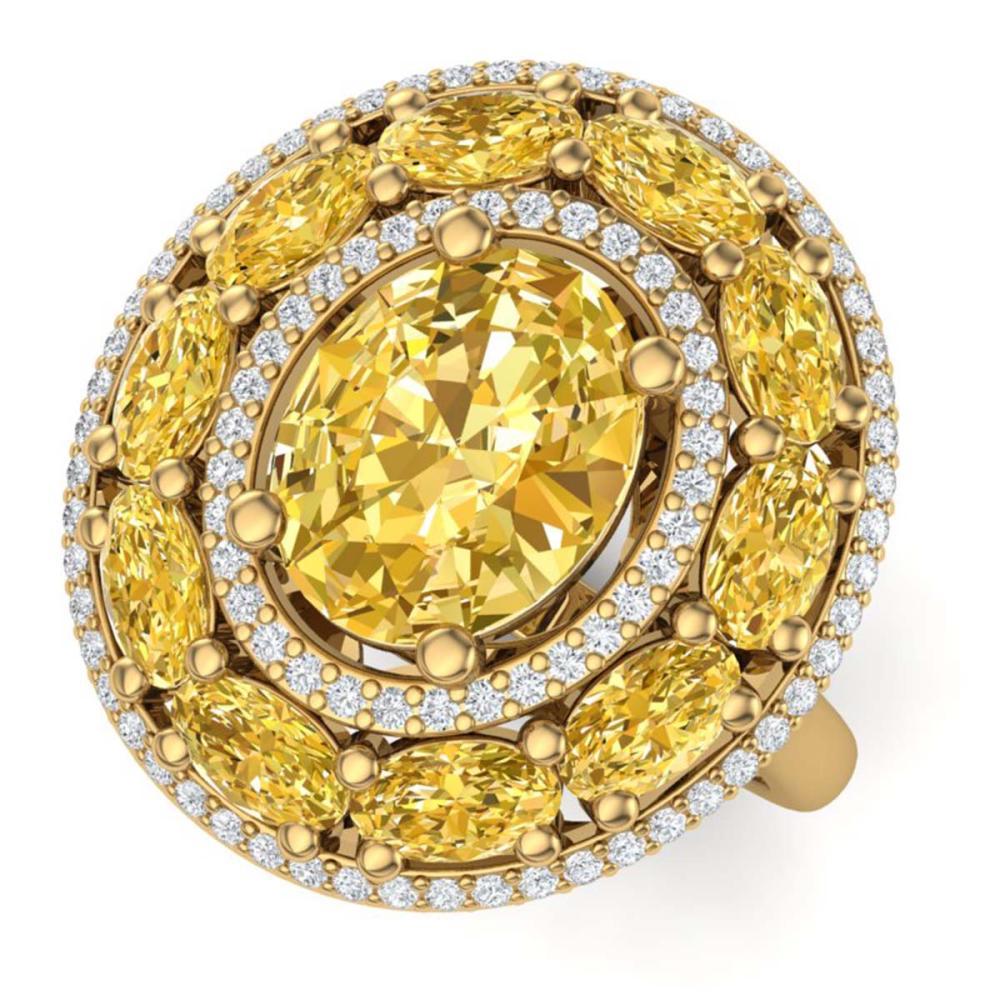 7.21 ctw Canary Citrine & VS Diamond Ring 18K Yellow Gold - REF-163N6A - SKU:39254