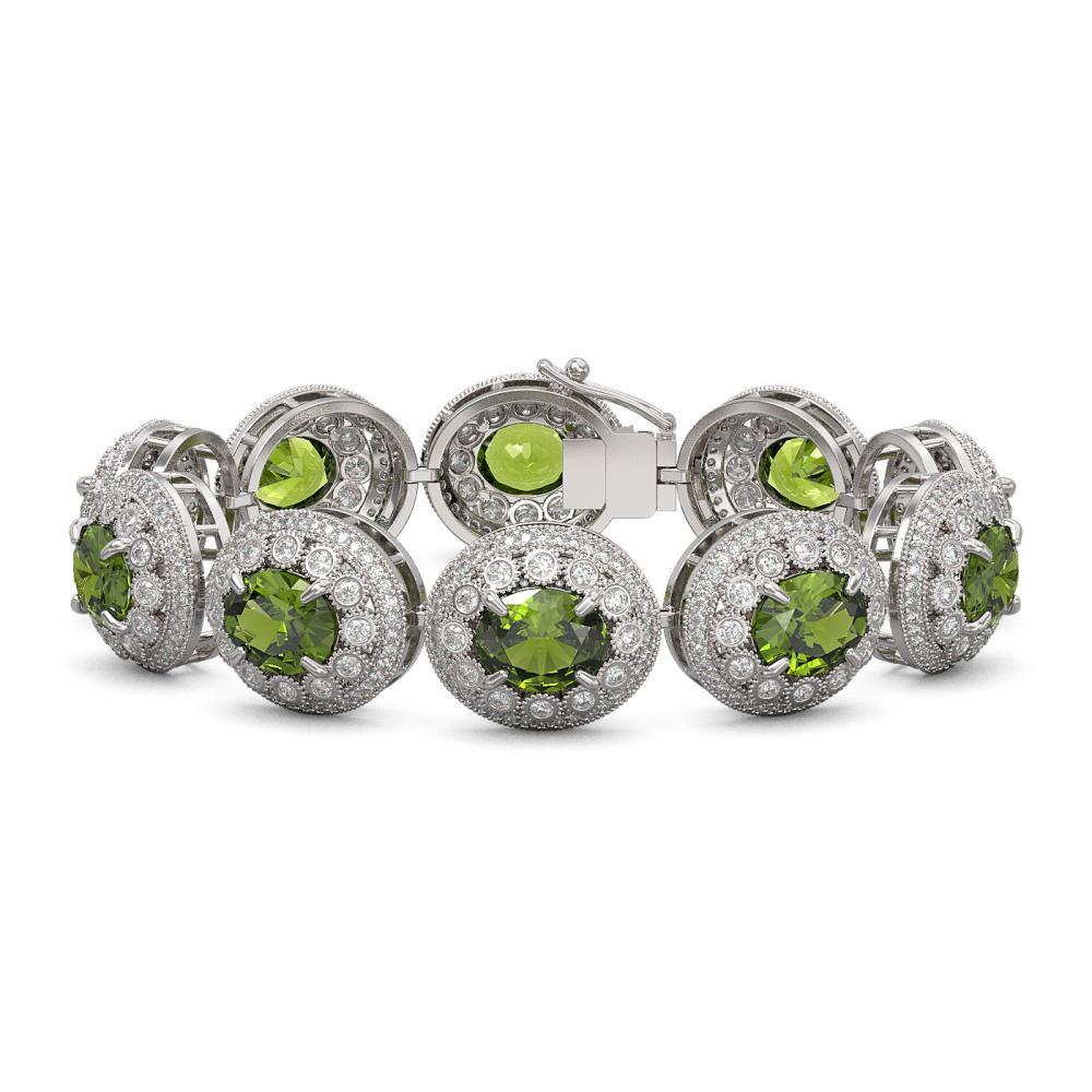 44.22 ctw Tourmaline & Diamond Bracelet 14K White Gold - REF-1342N4A - SKU:43730