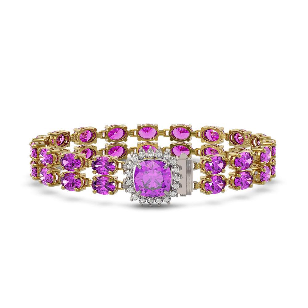 28.08 ctw Amethyst & Diamond Bracelet 14K Yellow Gold - REF-198R4K - SKU:45691