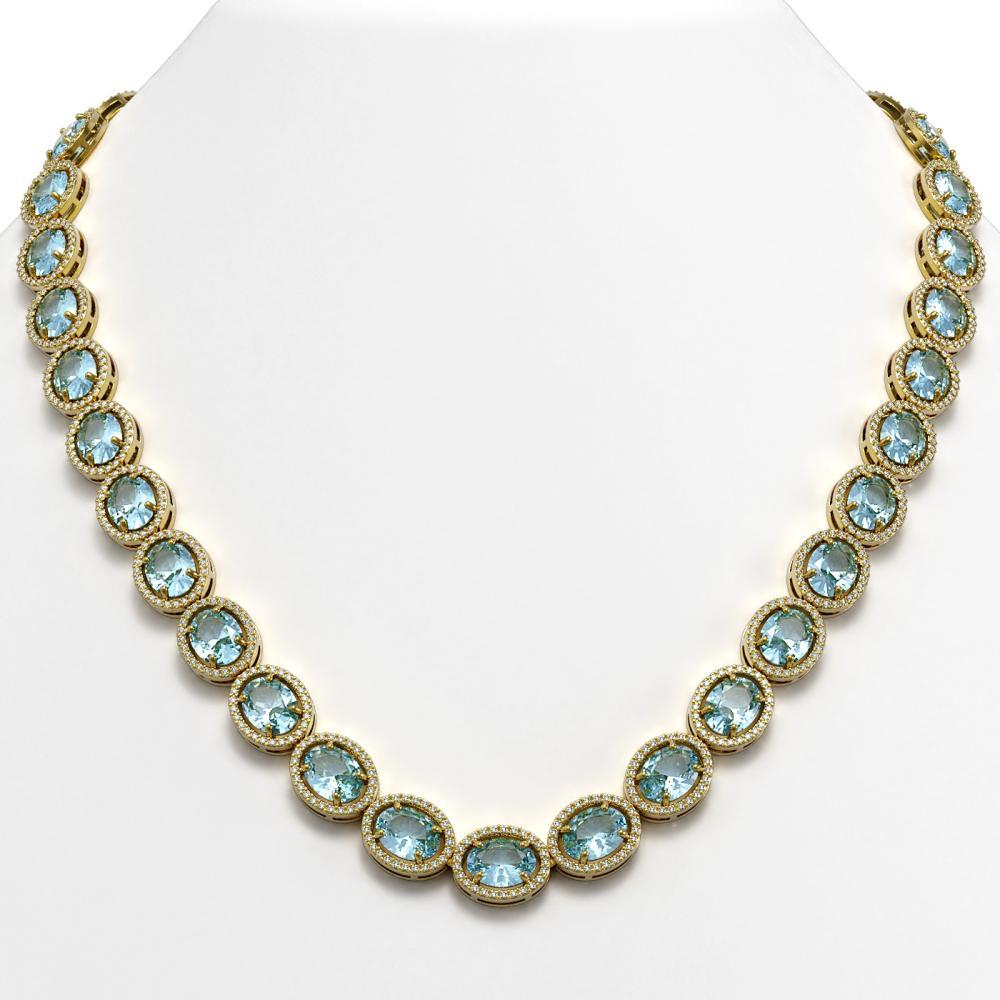 54.11 ctw Aquamarine & Diamond Halo Necklace 10K Yellow Gold - REF-805Y3X - SKU:40675