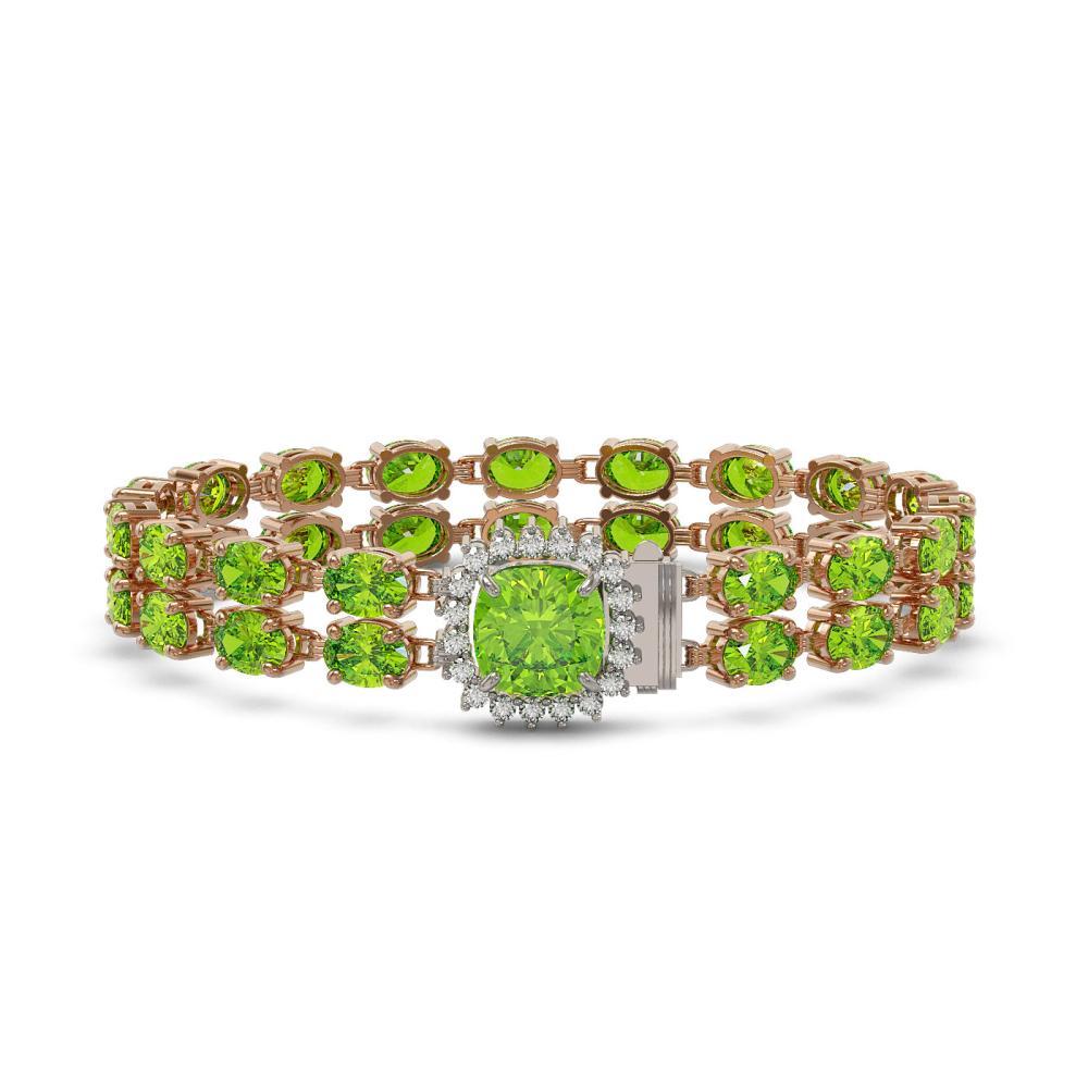 29.78 ctw Peridot & Diamond Bracelet 14K Rose Gold - REF-267Y3X - SKU:45678