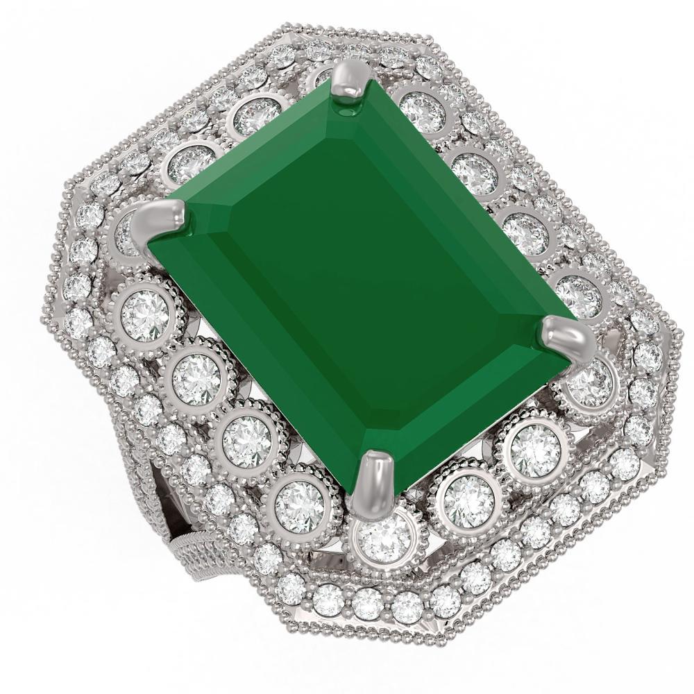 16.44 ctw Emerald & Diamond Ring 14K White Gold - REF-364N4A - SKU:43544