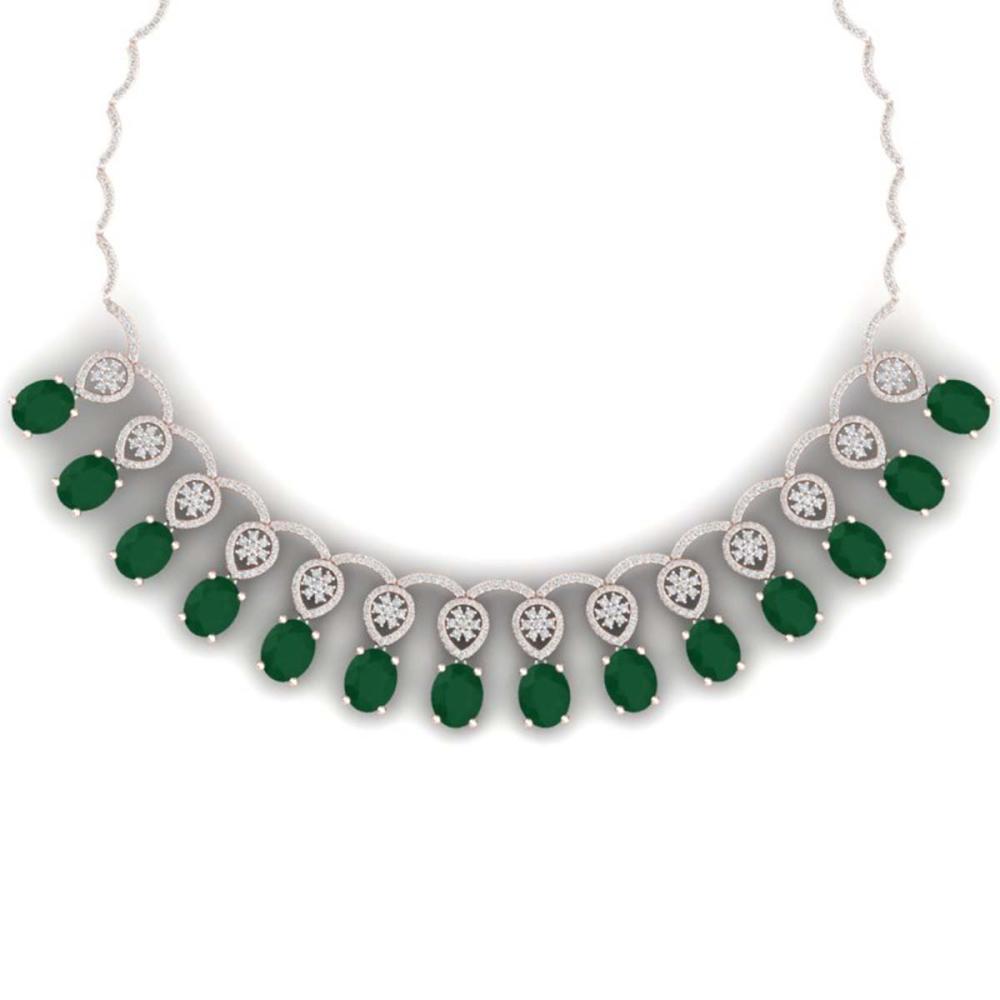 54.05 ctw Emerald & VS Diamond Necklace 18K Rose Gold - REF-1145K5W - SKU:39061