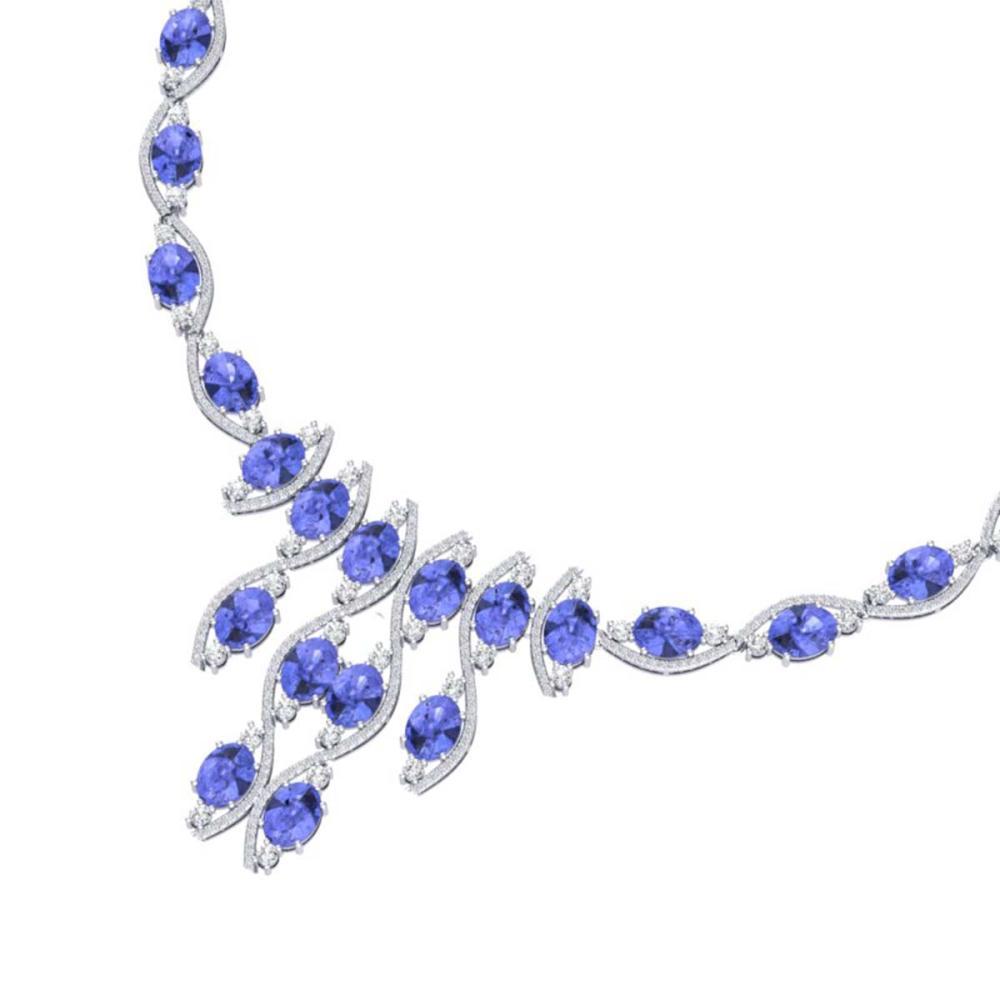 65.60 ctw Tanzanite & VS Diamond Necklace 18K White Gold - REF-1345M5F - SKU:39003