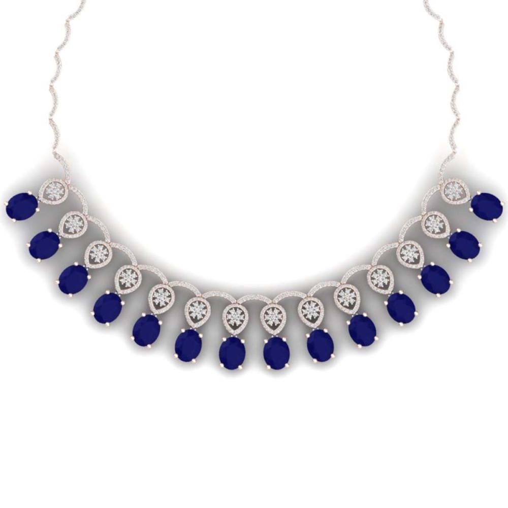 54.05 ctw Sapphire & VS Diamond Necklace 18K Rose Gold - REF-1054X5R - SKU:39067