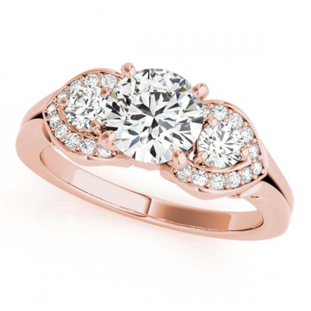 1.70 ctw VS/SI Diamond 3 Stone Ring 18K Rose Gold - REF-389F3N - SKU:27988