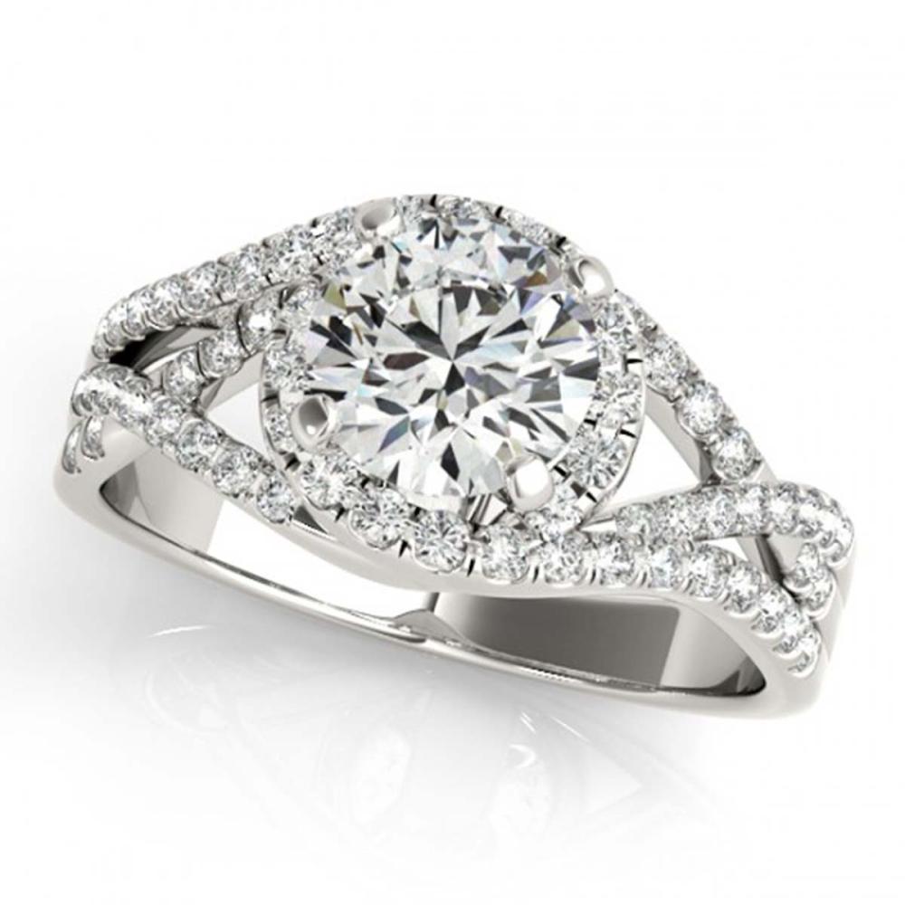 1.50 ctw VS/SI Diamond Solitaire Halo Ring 18K White Gold - REF-312K7W - SKU:26610