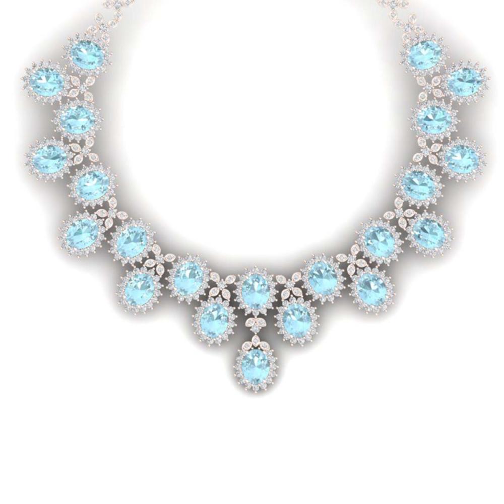 83 ctw Sky Topaz & VS Diamond Necklace 18K Rose Gold - REF-1381V8Y - SKU:38632