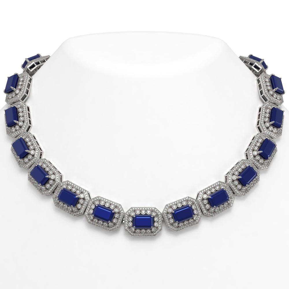 137.65 ctw Sapphire & Diamond Necklace 14K White Gold - REF-2875F6N - SKU:43466