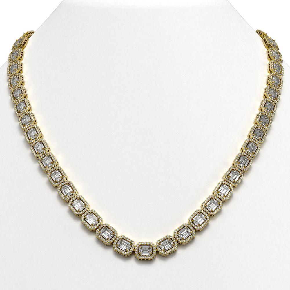 38.05 ctw Emerald Diamond Necklace 18K Yellow Gold - REF-6060H2M - SKU:42751