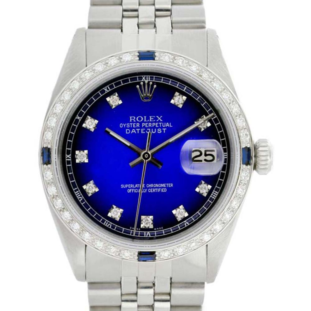 Rolex Men's Stainless Steel, QuickSet, Diam Dial & Diam/Sapphire Bezel - REF-521H2W