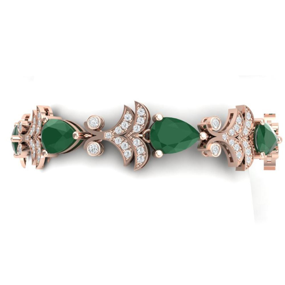 24.8 ctw Emerald & VS Diamond Bracelet 18K Rose Gold - REF-472A7V - SKU:38731