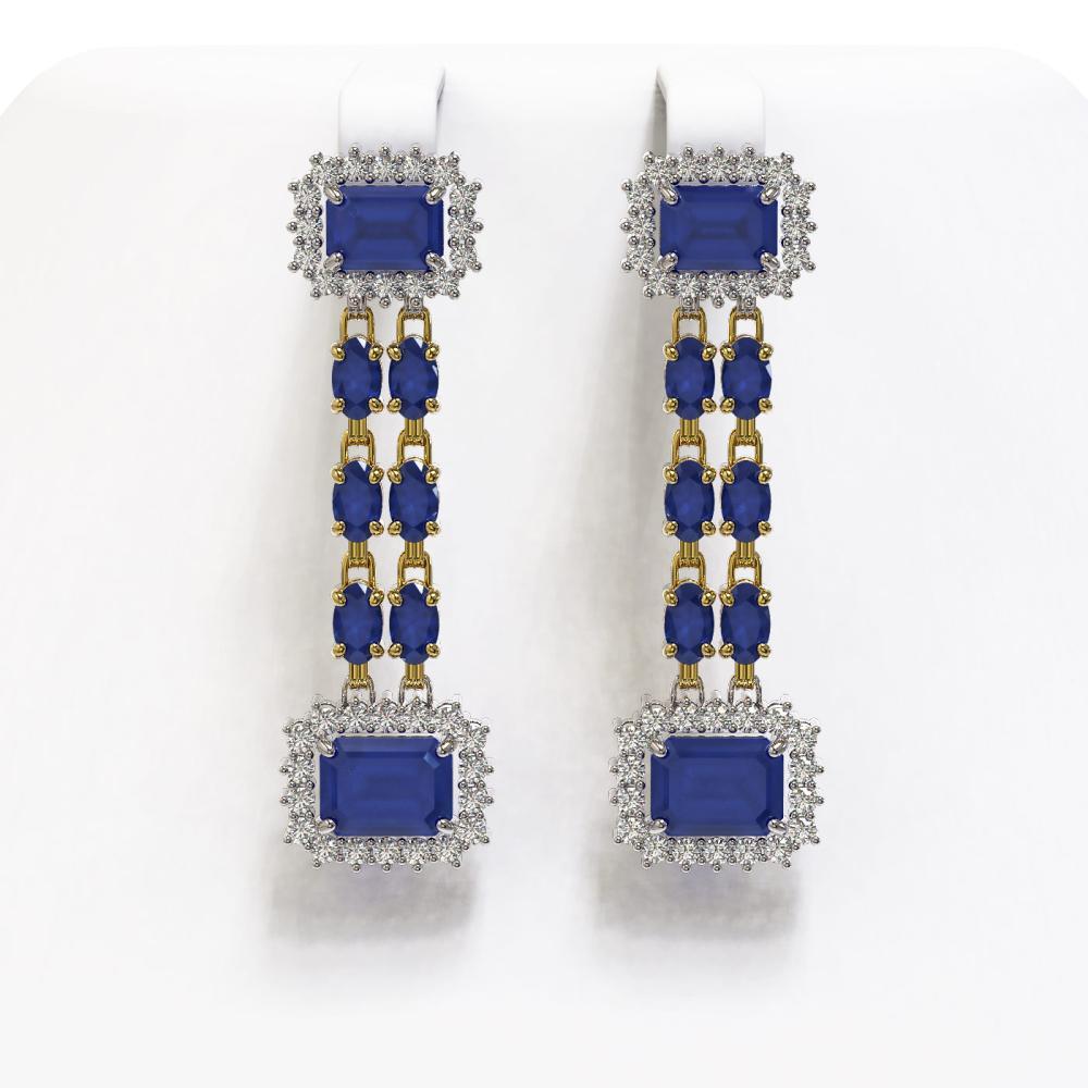 11.98 ctw Sapphire & Diamond Earrings 14K Yellow Gold - REF-205H8M - SKU:45202
