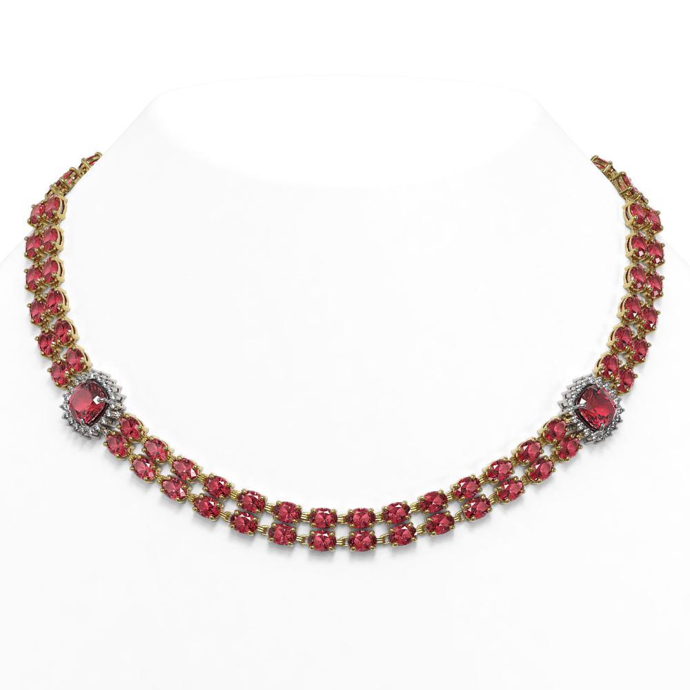 66.37 ctw Tourmaline & Diamond Necklace 14K Yellow Gold - REF-923A3V - SKU:44815
