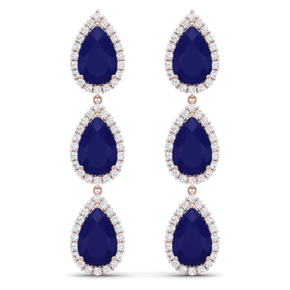 27.06 ctw Sapphire & VS Diamond Earrings 18K Rose Gold - REF-345R5K - SKU:38848