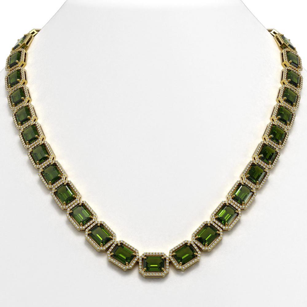80.65 ctw Tourmaline & Diamond Halo Necklace 10K Yellow Gold - REF-1163A6V - SKU:41497