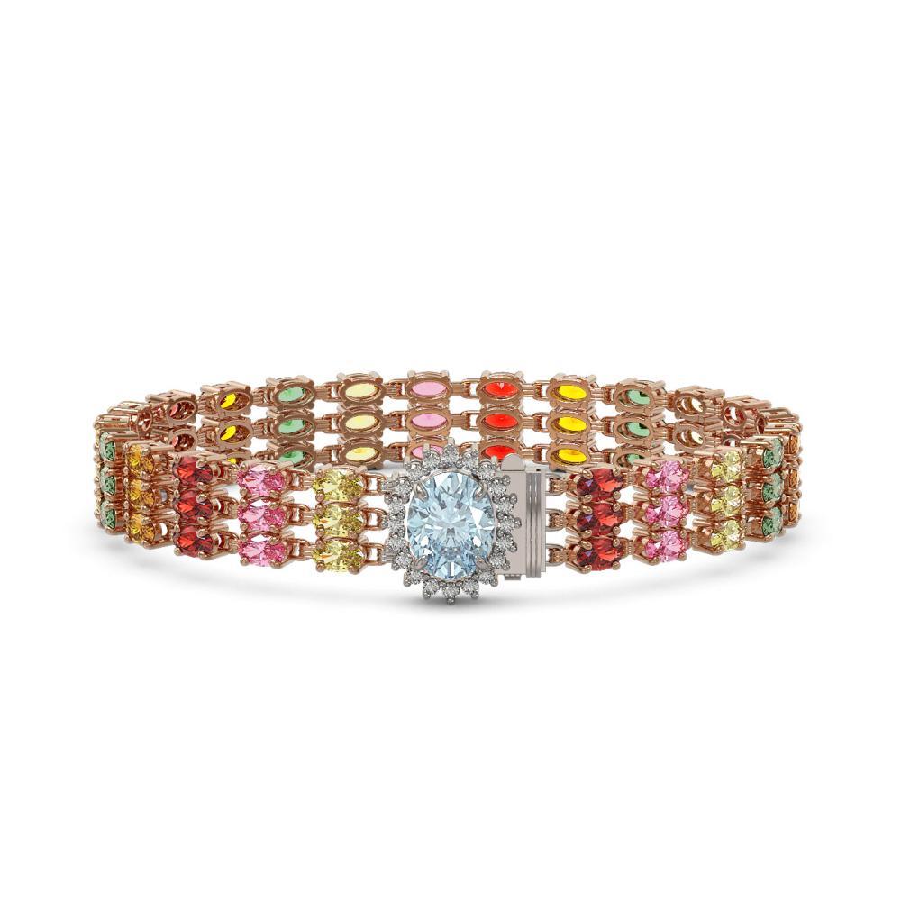 30.58 ctw Sapphire & Diamond Bracelet 14K Rose Gold - REF-250Y2X - SKU:45870