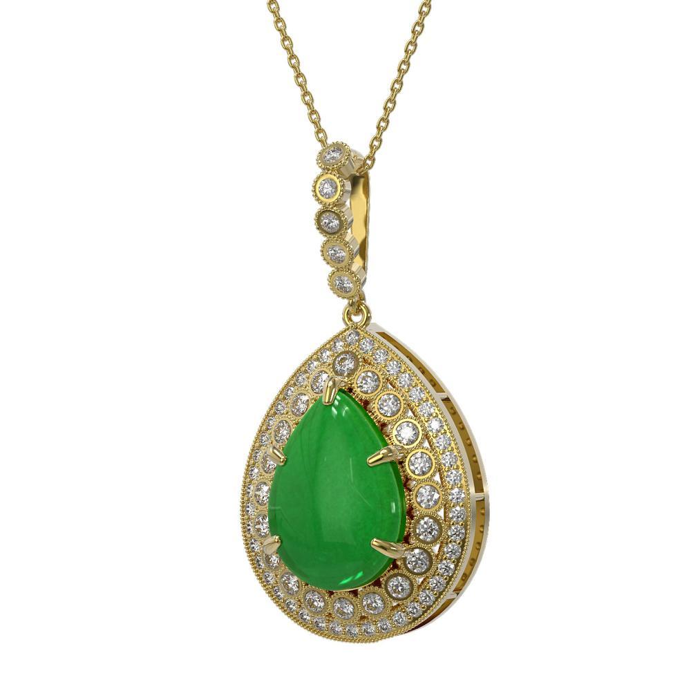 10.41 ctw Jade & Diamond Necklace 14K Yellow Gold - REF-215R3K - SKU:46193