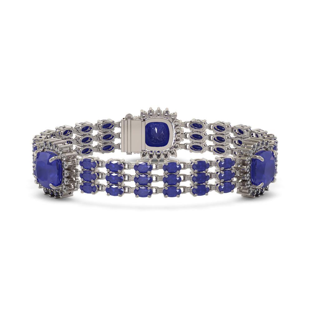 39.16 ctw Sapphire & Diamond Bracelet 14K White Gold - REF-436Y4X - SKU:45314