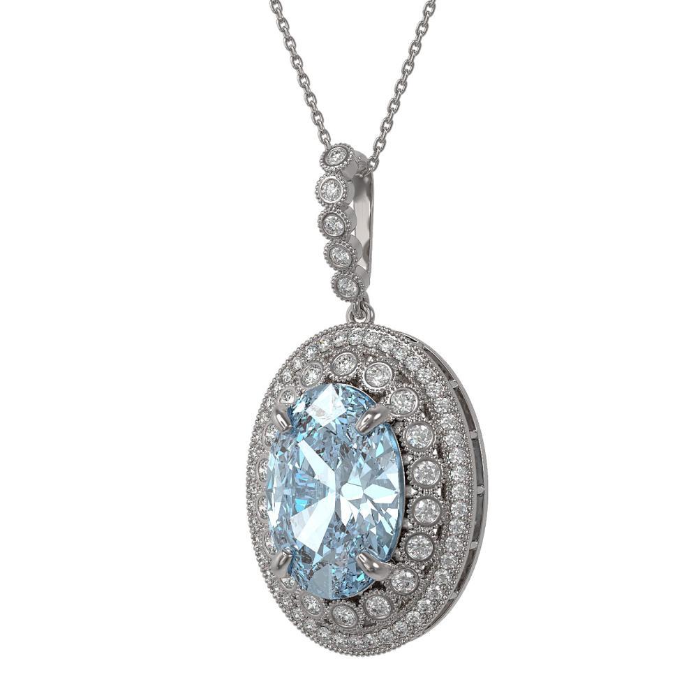 18.77 ctw Sky Topaz & Diamond Necklace 14K White Gold - REF-238K5W - SKU:43901