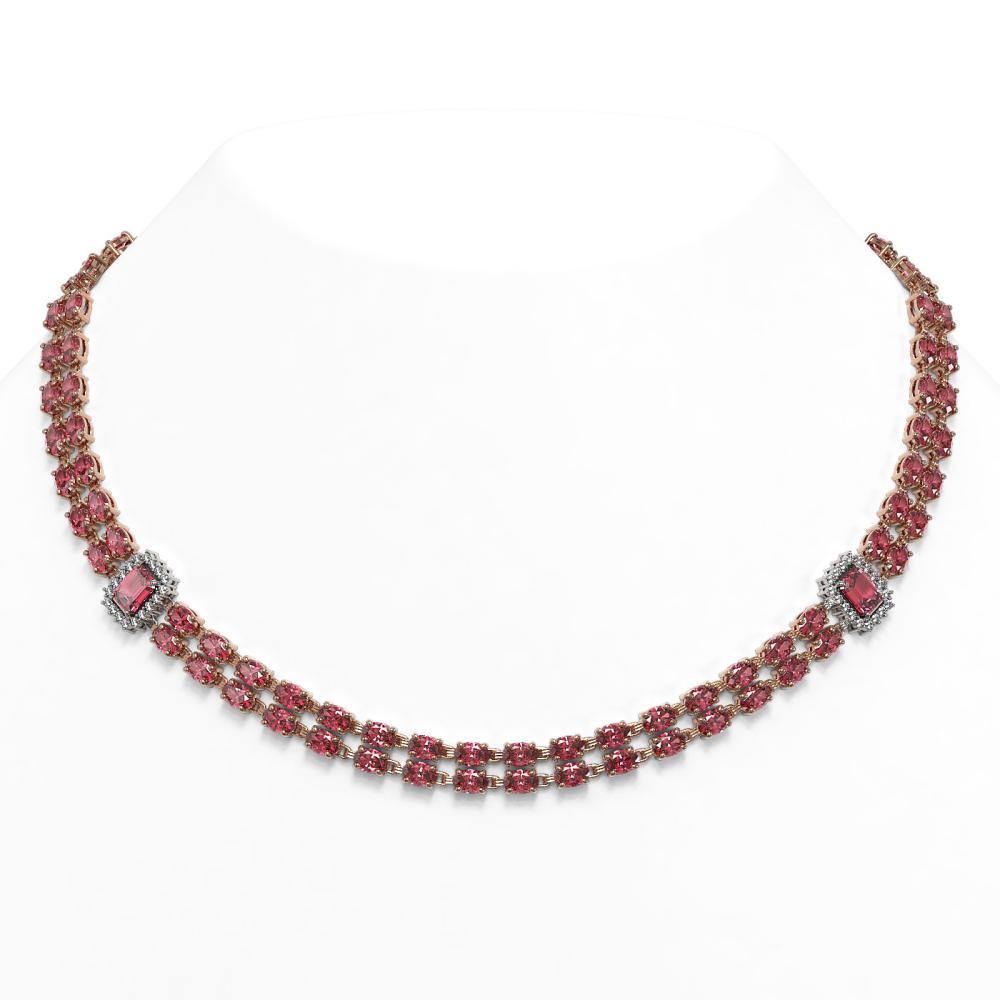 57.1 ctw Tourmaline & Diamond Necklace 14K Rose Gold - REF-665X5R - SKU:45099