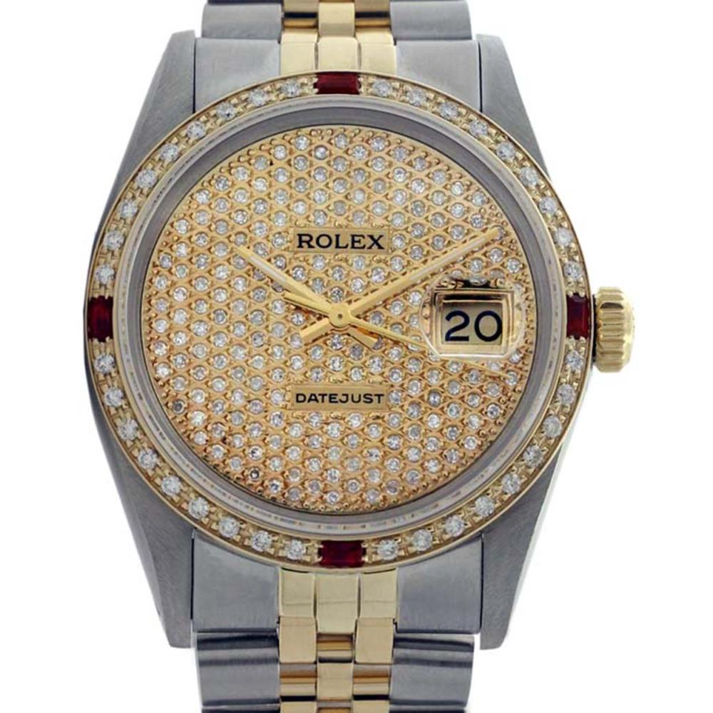 Rolex Men's Two Tone 14K Gold/SS, QuickSet, Diam Pave Dial & Diam/Ruby Bezel - REF-665K3T