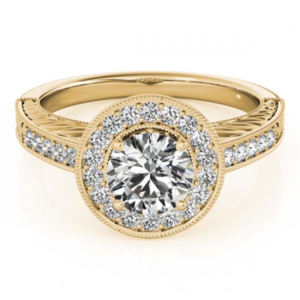 1.07 ctw VS/SI Diamond Halo Ring 18K Yellow Gold - REF-162X2R - SKU:26523