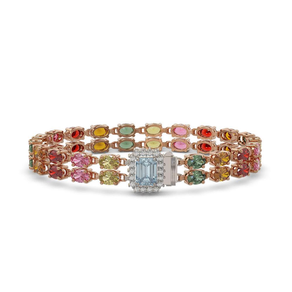 27.91 ctw Sapphire & Diamond Bracelet 14K Rose Gold - REF-309N8A - SKU:45813