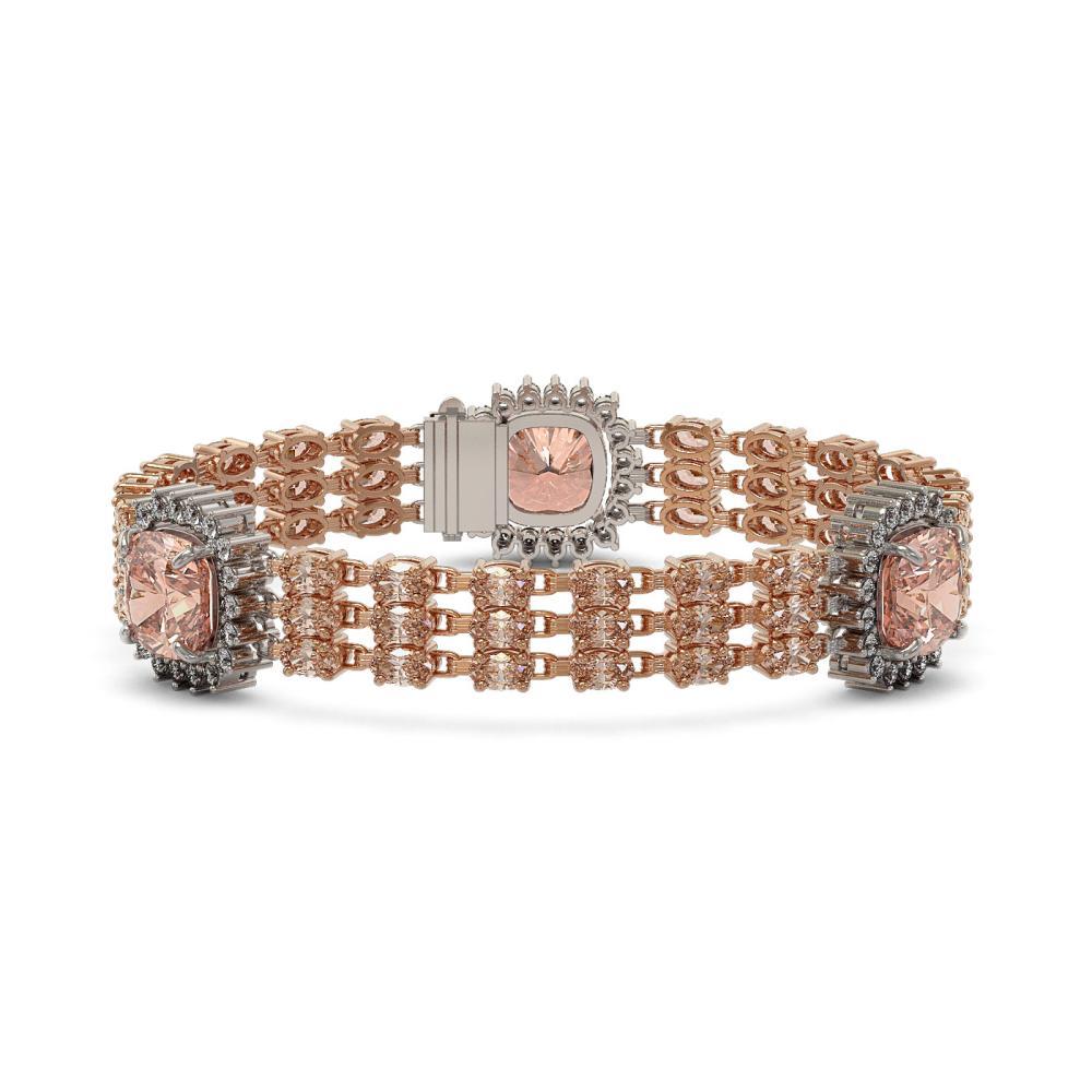 34.15 ctw Morganite & Diamond Bracelet 14K Rose Gold - REF-654K5W - SKU:45321