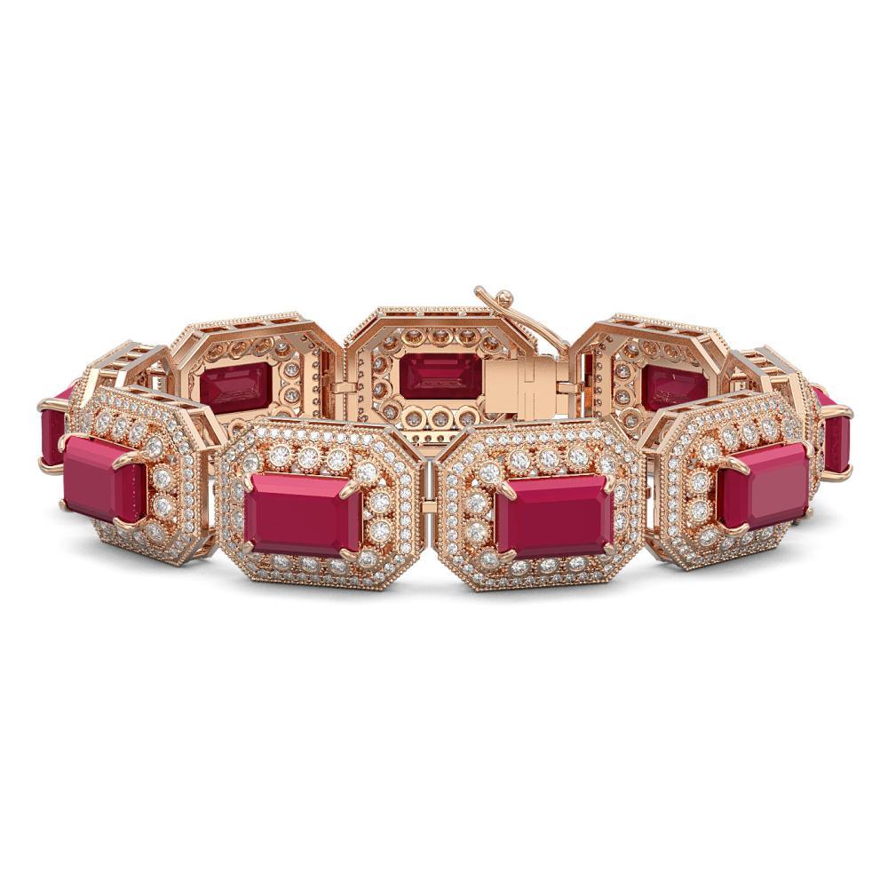 61.92 ctw Ruby & Diamond Bracelet 14K Rose Gold - REF-1288X4R - SKU:43488