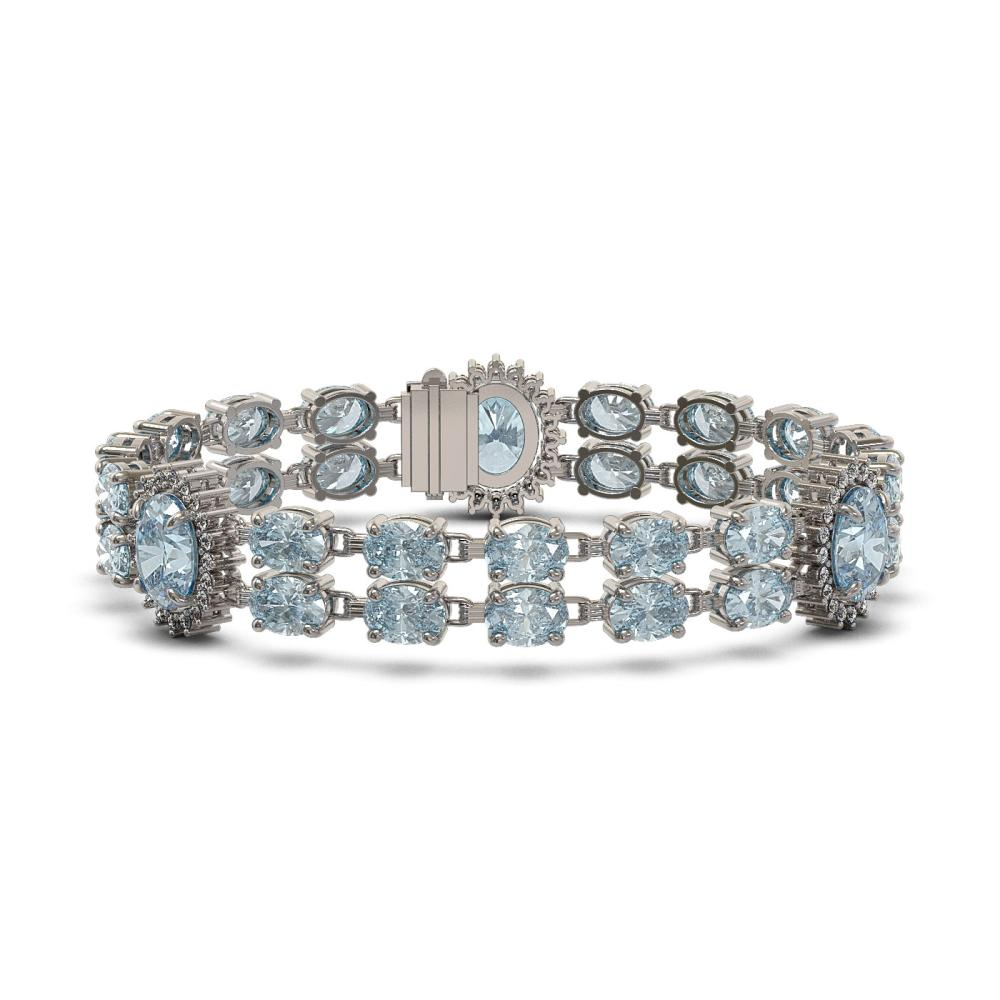 41.17 ctw Sky Topaz & Diamond Bracelet 14K White Gold - REF-278W7H - SKU:44882