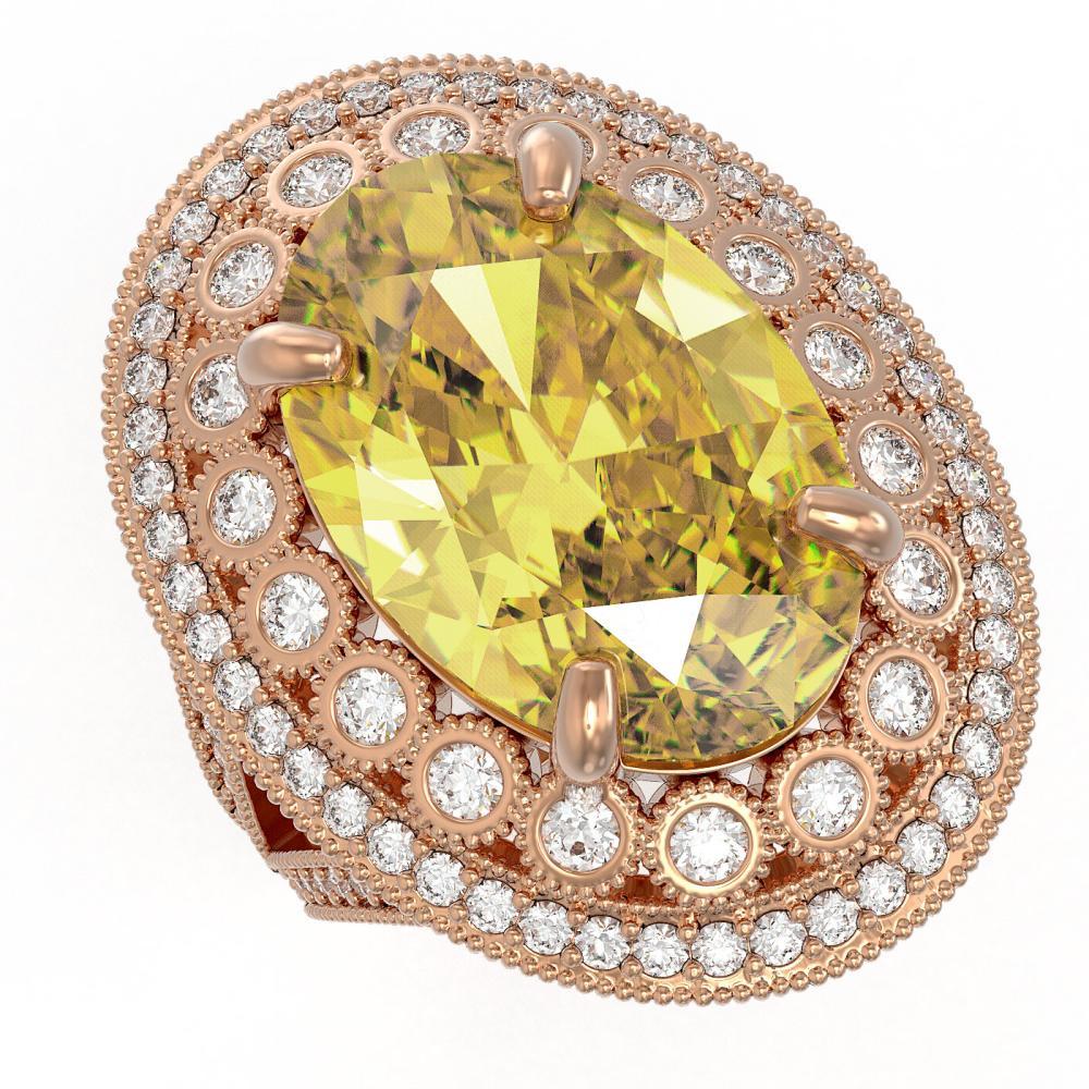 18.67 ctw Canary Citrine & Diamond Ring 14K Rose Gold - REF-254F9N - SKU:43887