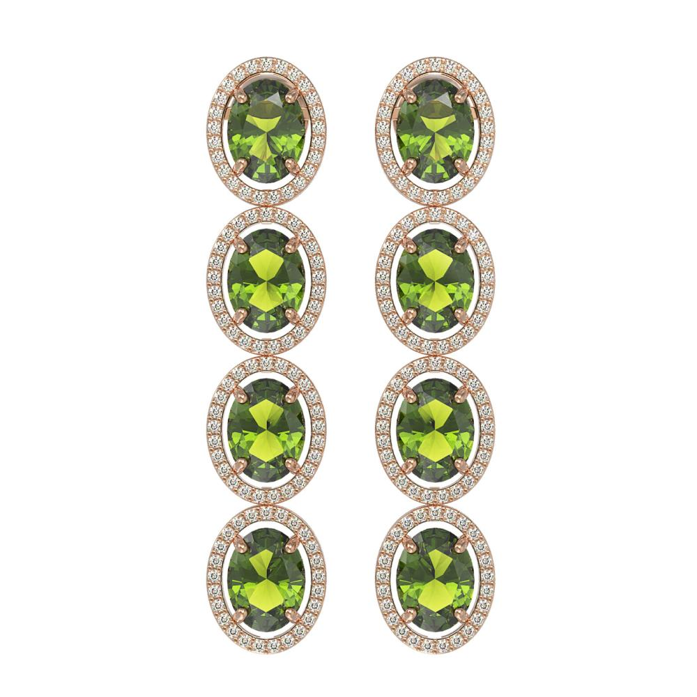 11.8 ctw Tourmaline & Diamond Halo Earrings 10K Rose Gold - REF-269N3A - SKU:40767