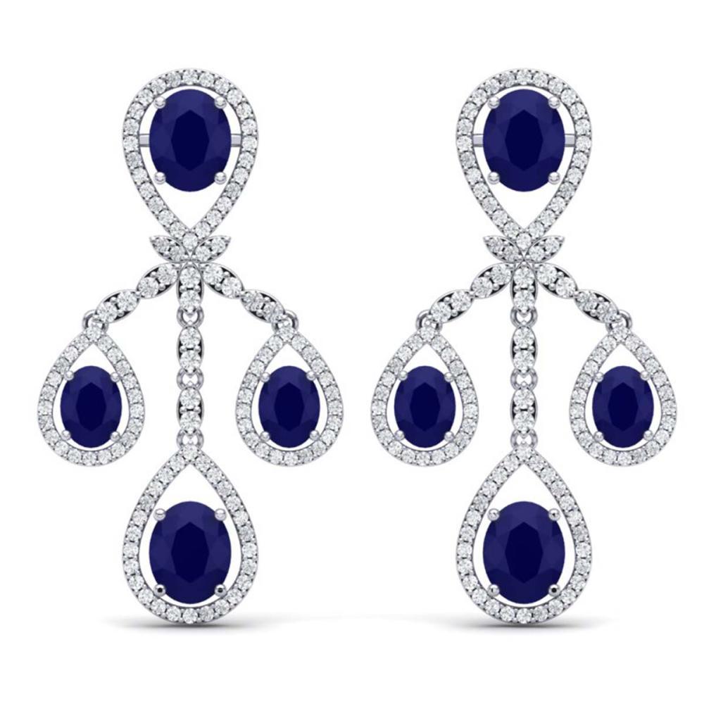 25.08 ctw Sapphire & VS Diamond Earrings 18K White Gold - REF-490A9V - SKU:38577