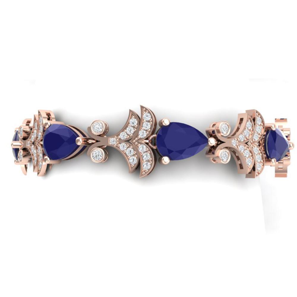 24.8 ctw Sapphire & VS Diamond Bracelet 18K Rose Gold - REF-436Y4X - SKU:38737