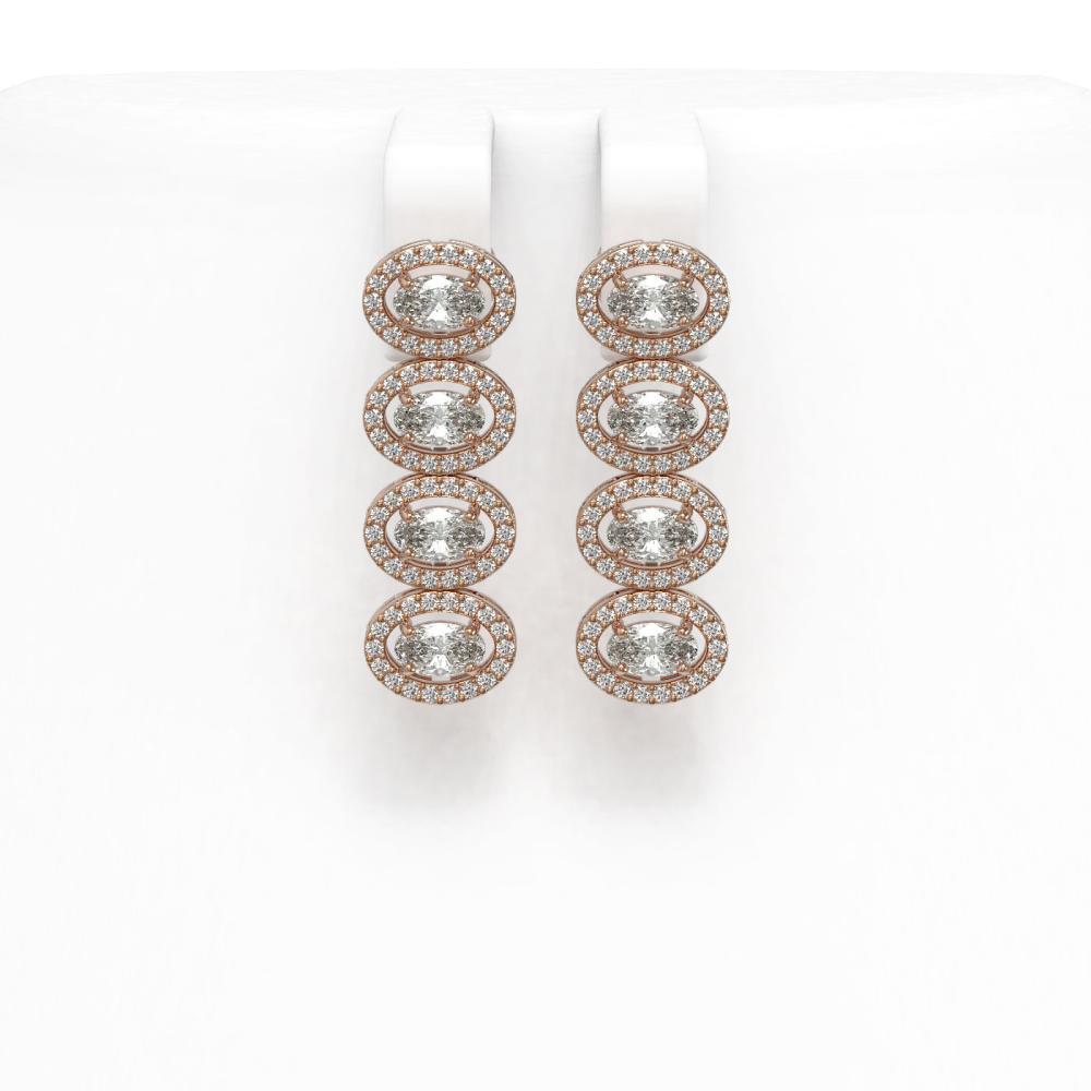 4.52 ctw Oval Diamond Earrings 18K Rose Gold - REF-381A7V - SKU:43071