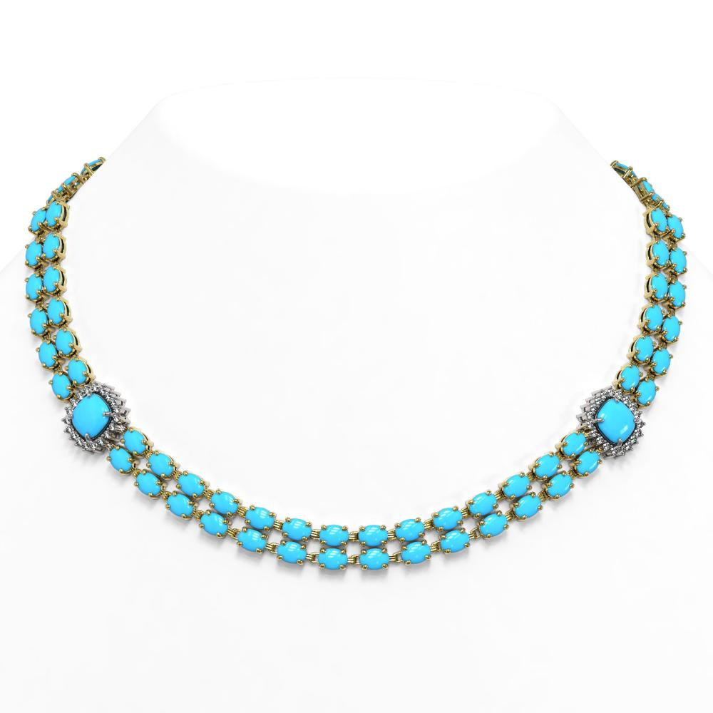 53.53 ctw Turquoise & Diamond Necklace 14K Yellow Gold - REF-460K7W - SKU:44848
