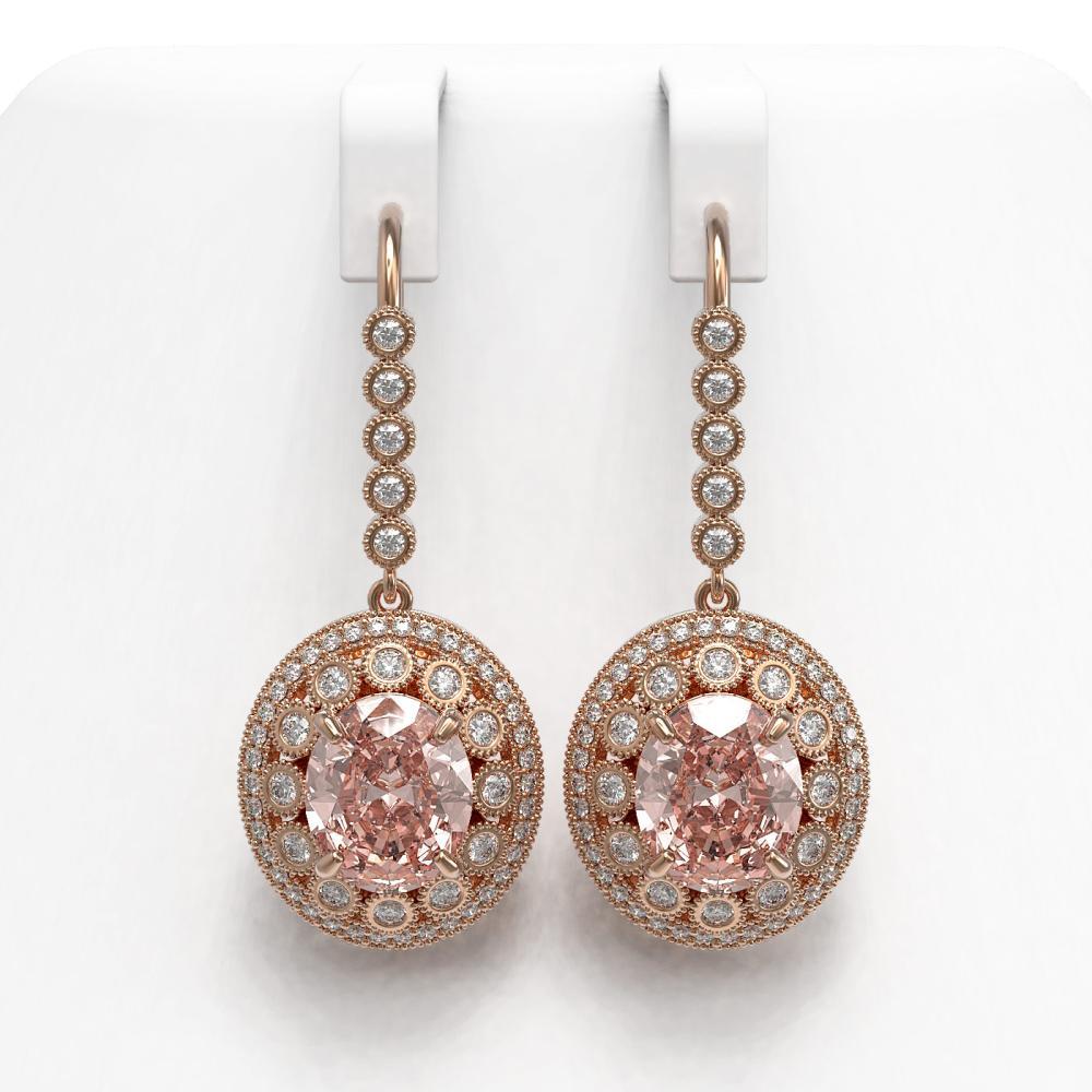 13.82 ctw Morganite & Diamond Earrings 14K Rose Gold - REF-579V8Y - SKU:43788