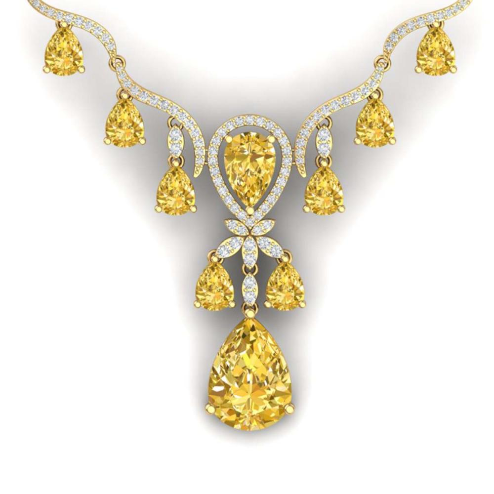 34.70 ctw Canary Citrine & VS Diamond Necklace 18K Yellow Gold - REF-618X2R - SKU:38603