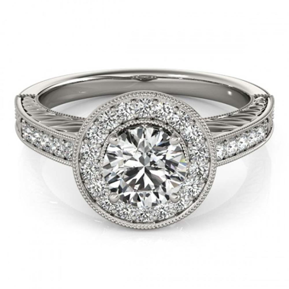 1.07 ctw VS/SI Diamond Halo Ring 18K White Gold - REF-162R2K - SKU:26521