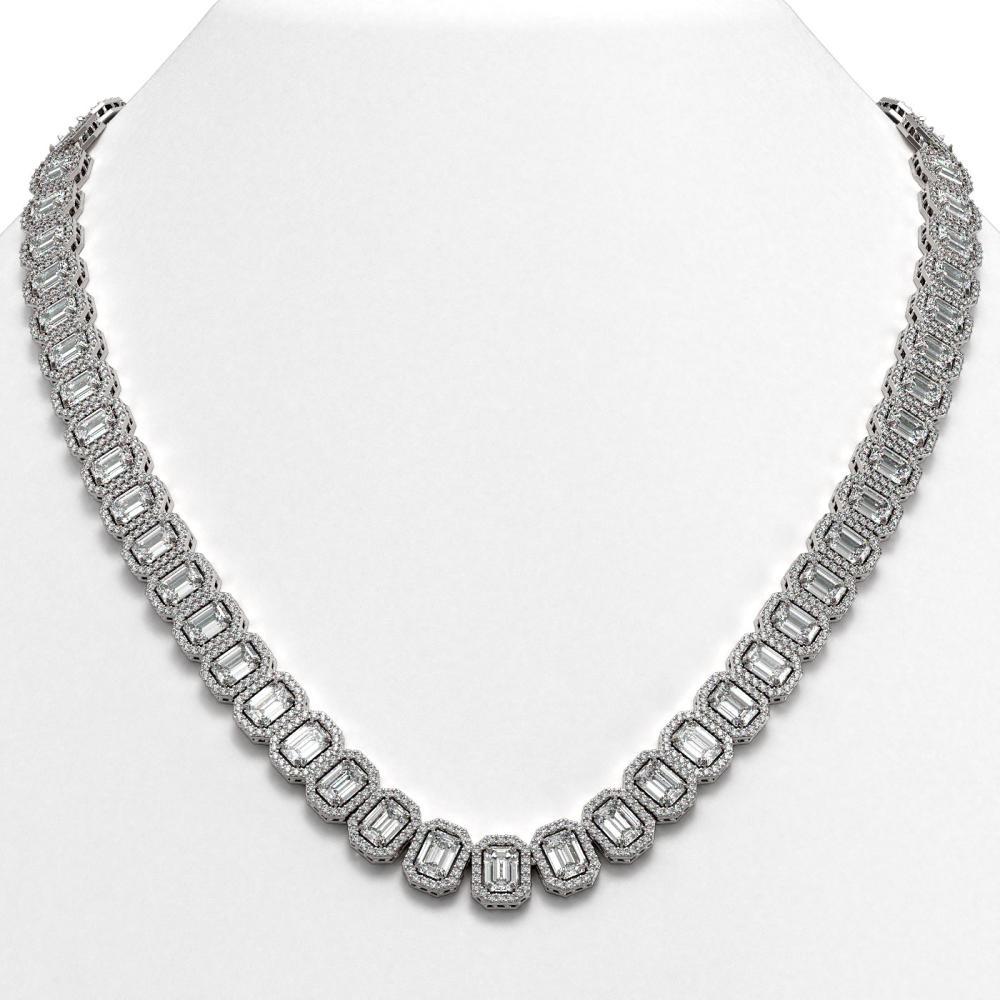 47.12 ctw Emerald Diamond Necklace 18K White Gold - REF-7510V5Y - SKU:42839