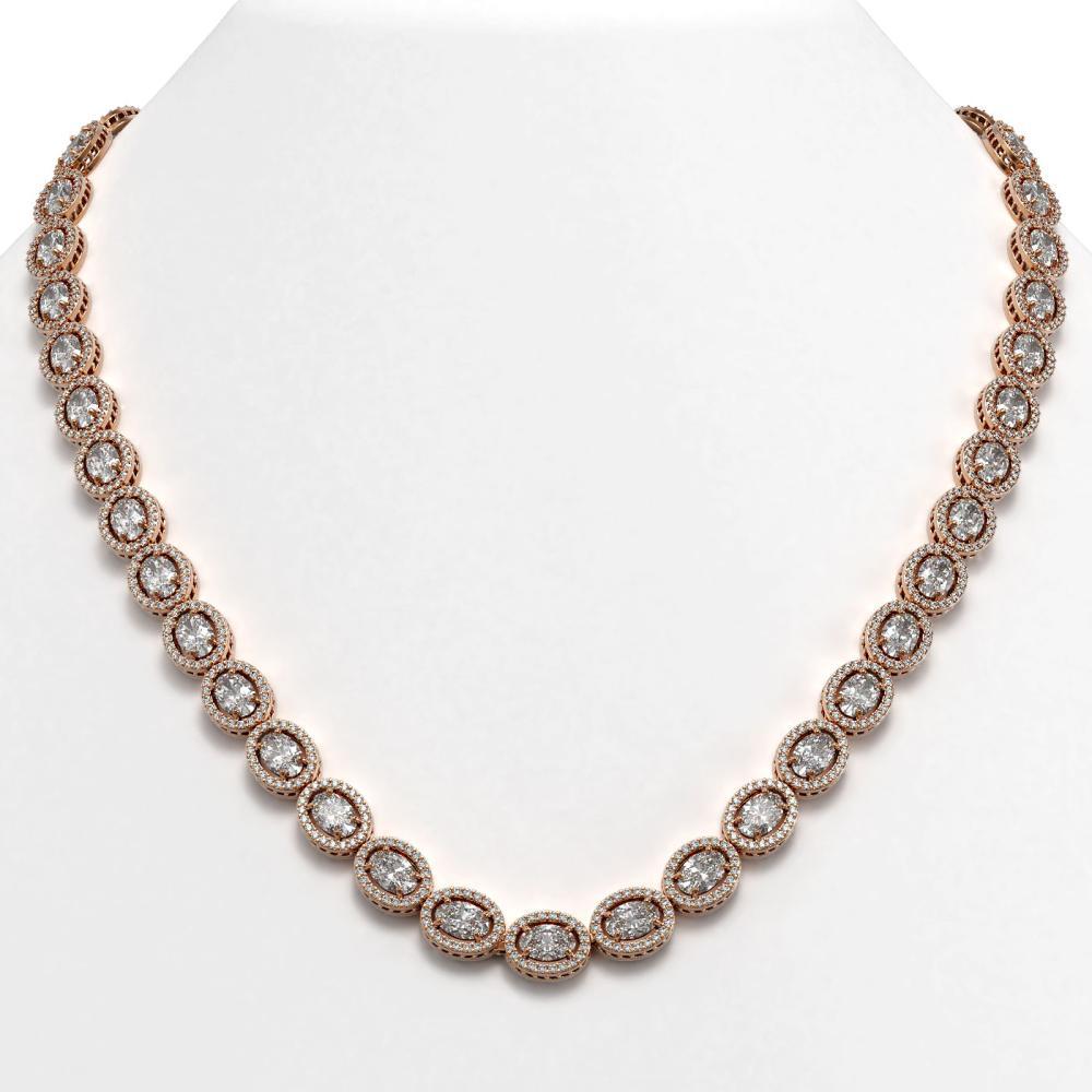 34.96 ctw Oval Diamond Necklace 18K Rose Gold - REF-4831N4A - SKU:42705
