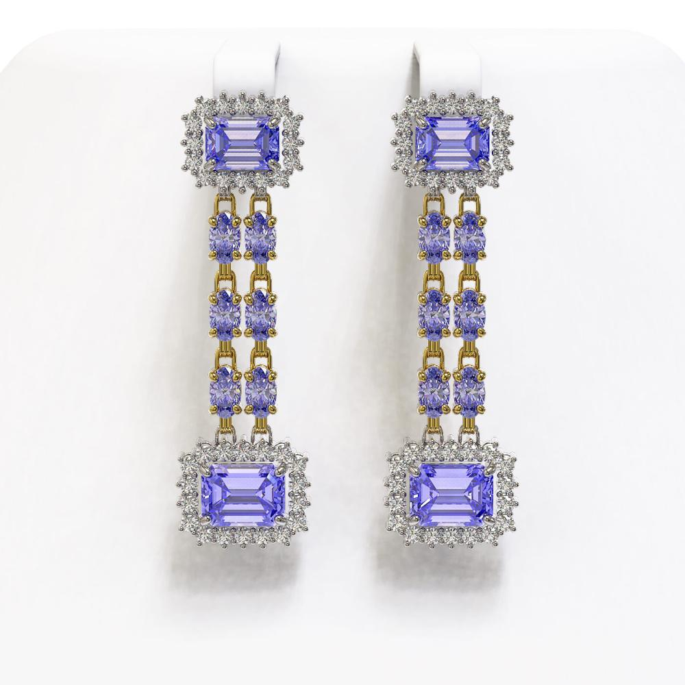 11.26 ctw Tanzanite & Diamond Earrings 14K Yellow Gold - REF-292A4V - SKU:45205